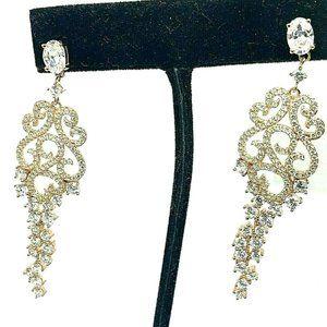 Suzy Levian Rose Gold Tone Sterling Earrings Long